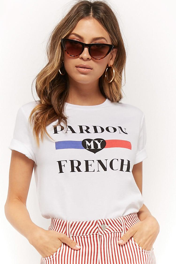 bc04f42c Forever 21 Pardon My French Graphic Tee in White - Lyst