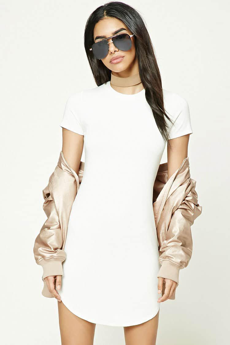 b34b793c33d8 Lyst - Forever 21 Curved Hem T-shirt Dress in White