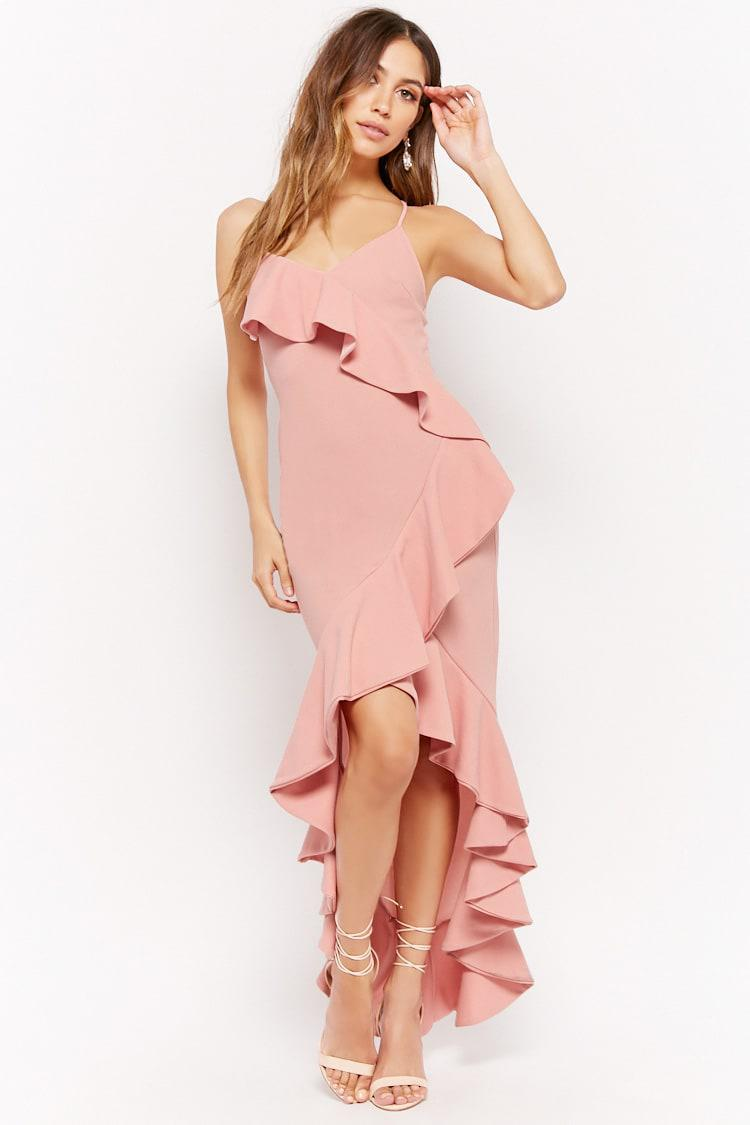 Lyst - Forever21 Ruffled High-low Prom Dress in Pink