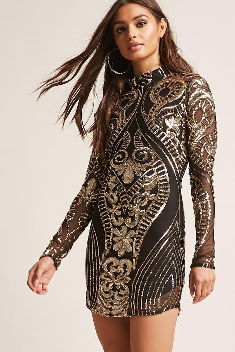 9753085074e Forever 21 Baroque Sequin Mock Neck Dress - Lyst