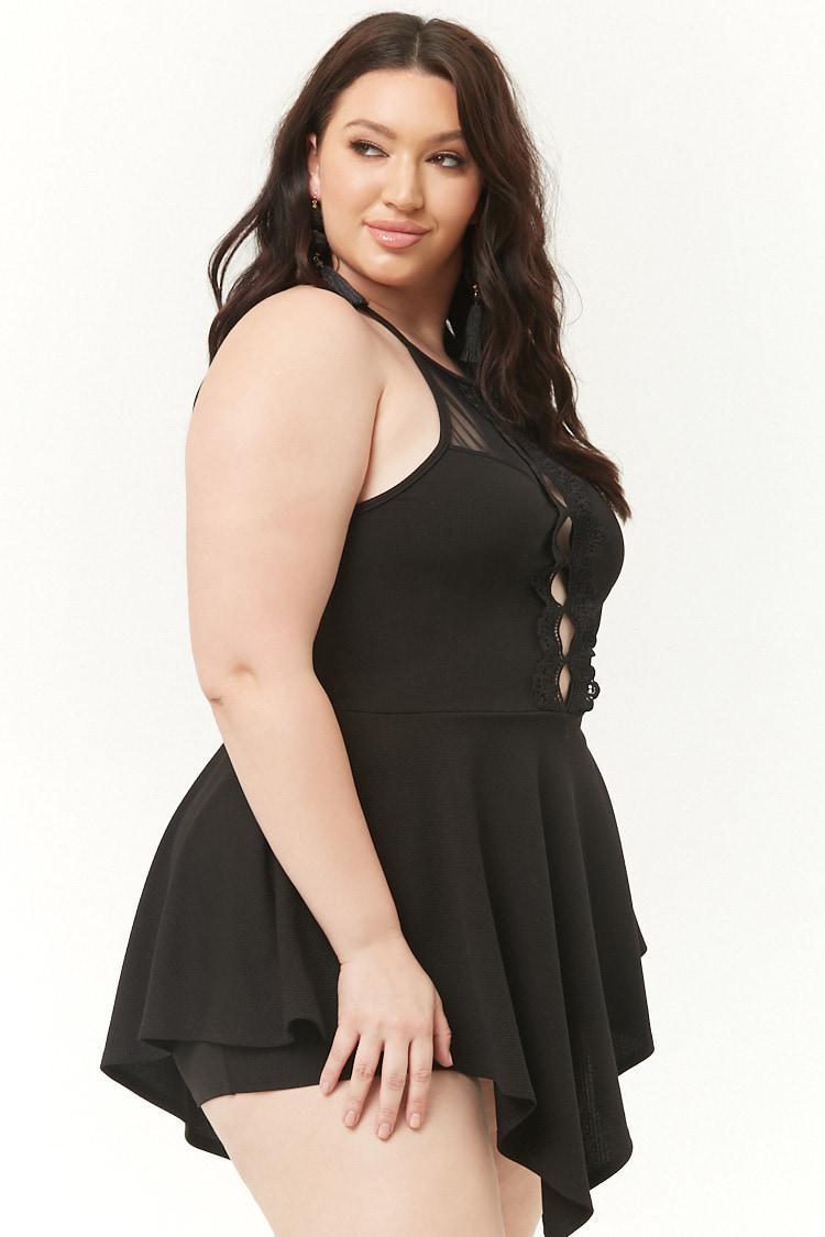 e34f06a09f498 Forever 21 Women s Plus Size Cutout Triangle Hem Romper in Black - Lyst