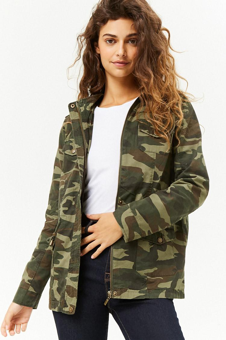 0432be24c87fa Lyst - Forever 21 Camo Print Hooded Utility Jacket in Green