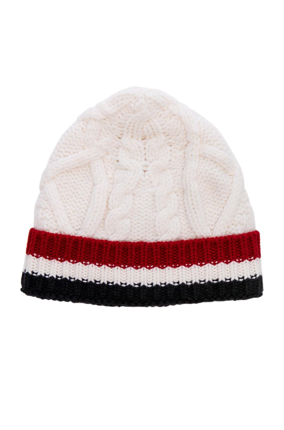 7ad3cff4f0e Thom Browne Aran Cable Hat in White - Lyst
