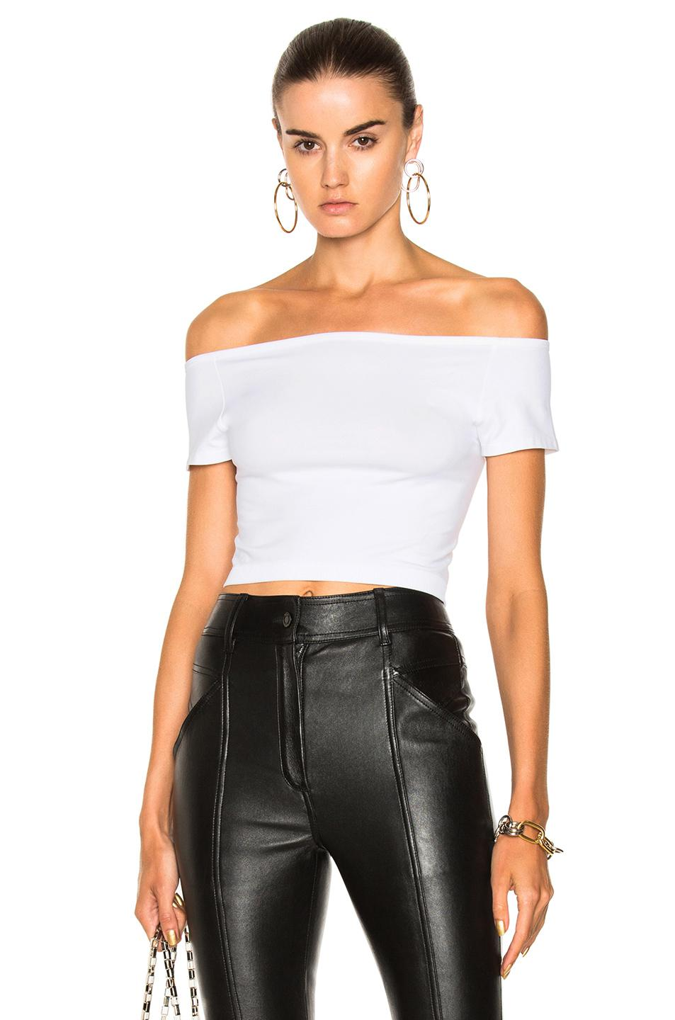 fc5047bb42a7d7 Lyst - Helmut Lang Cropped Off Shoulder Seamless Top in White