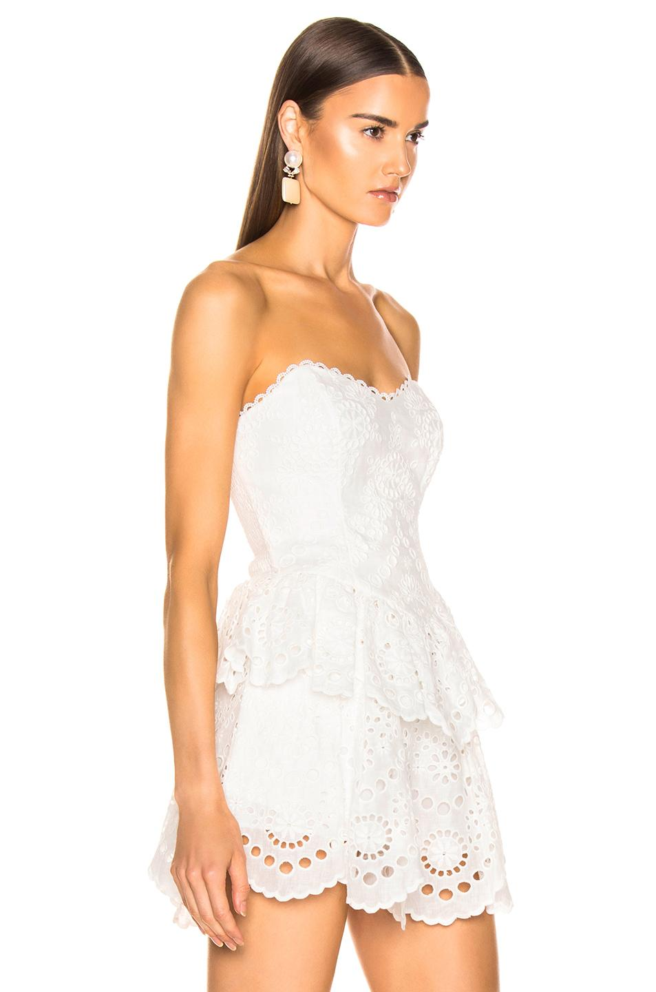 ea456e74d2c91 Zimmermann Bowie Strapless Bodice Top in White - Lyst
