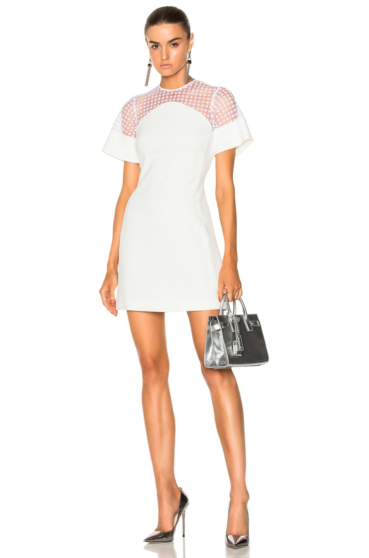 David Koma Women S Short Flock Sleeve Mini Dress In White