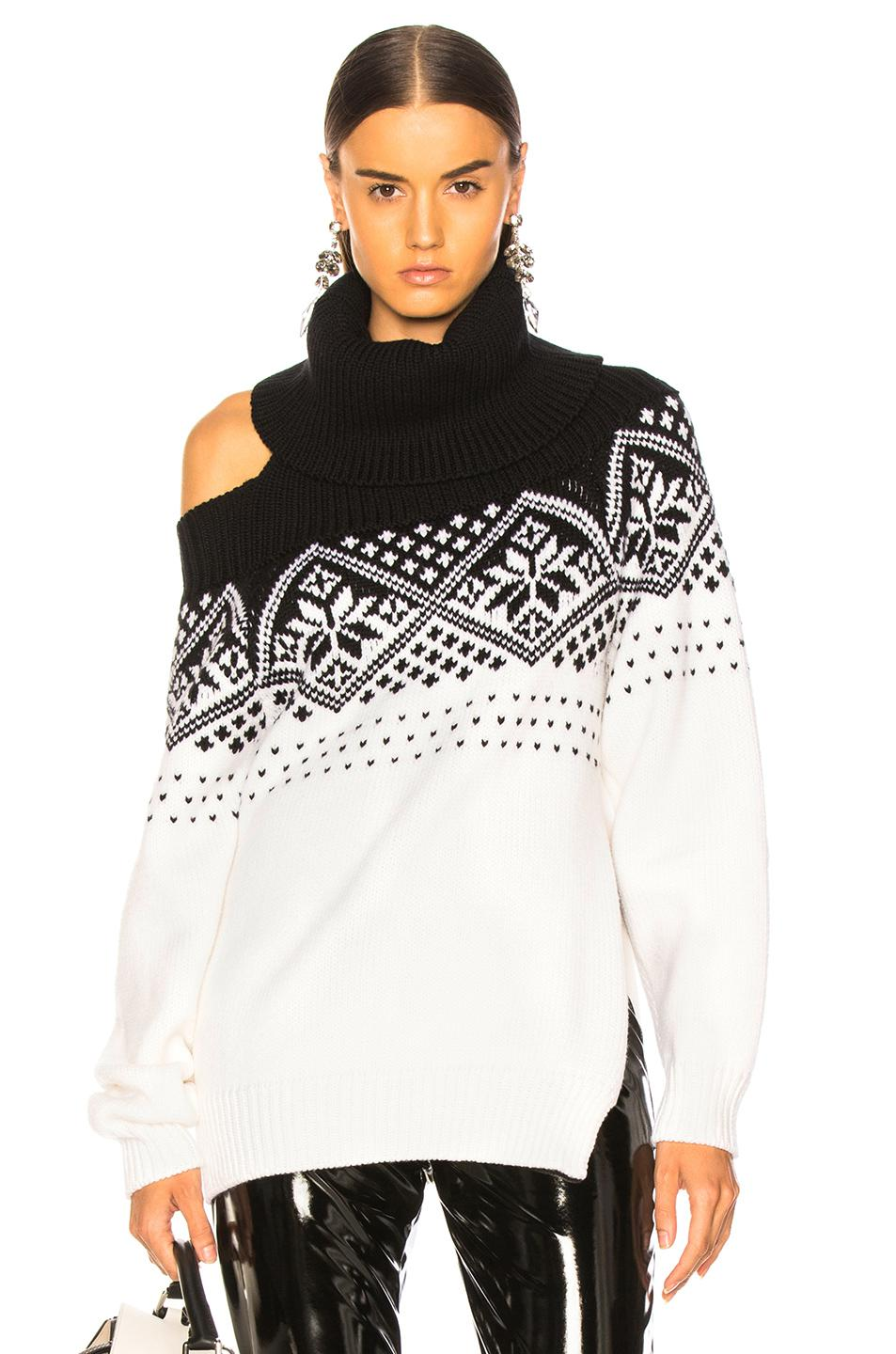 0e1cdb2e6472d6 Lyst - Monse Snowflake Cold Shoulder Sweater in Black - Save 52%