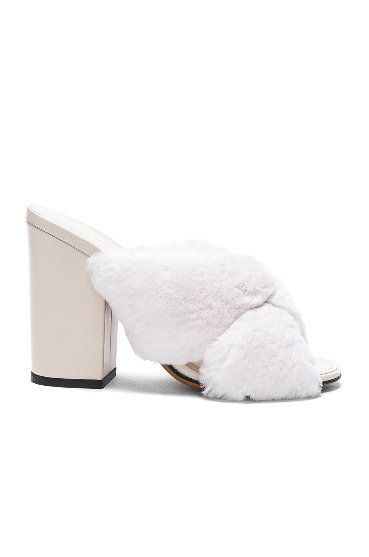 15645838717 Lyst - Alumnae Soft X Slide Rabbit Fur Block Heels in White