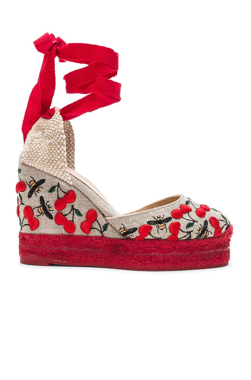 Embroidered Canvas Carina Espadrilles in Red Castaner cFvvbKrA