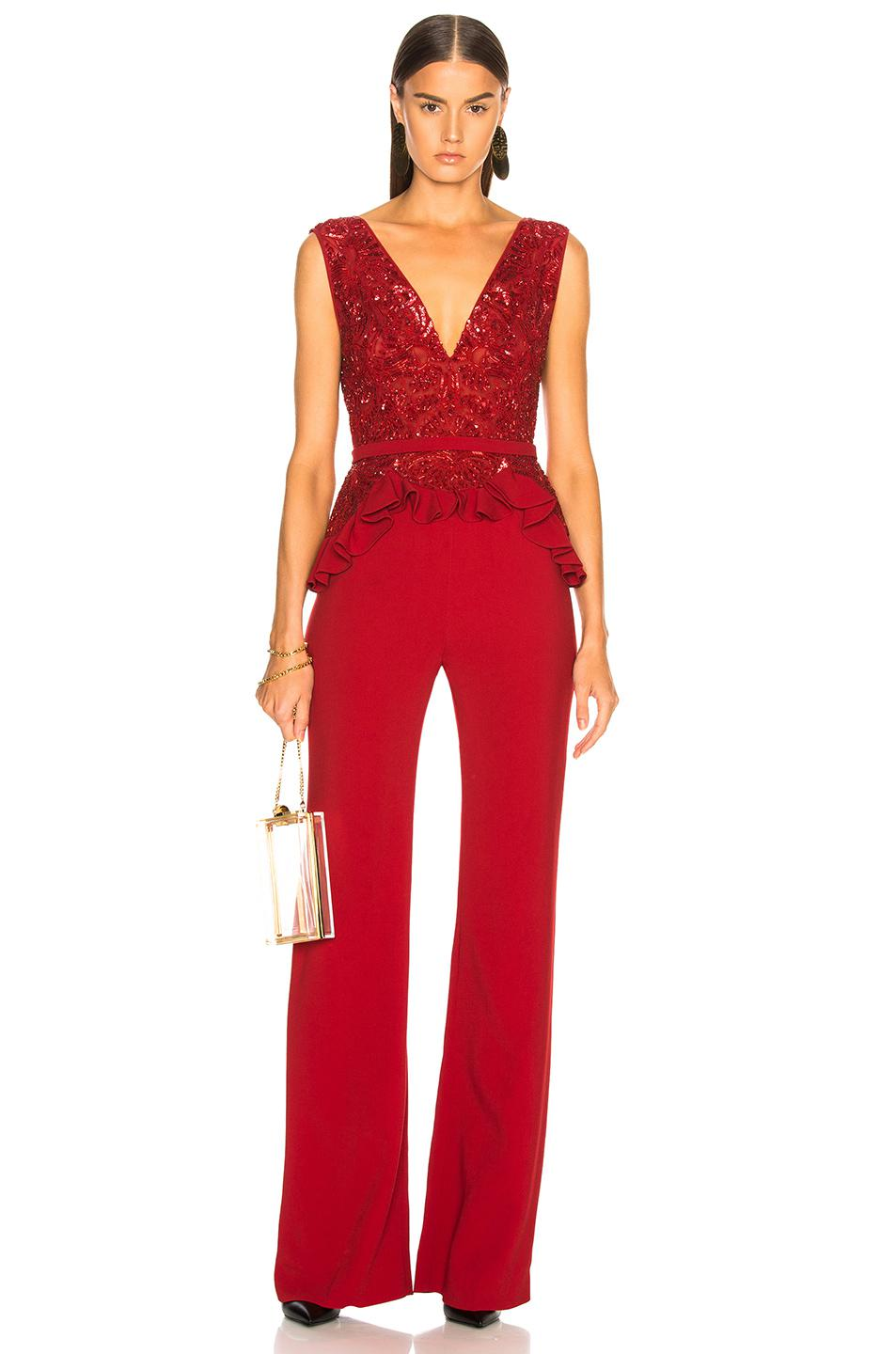 50b8d35b78f Lyst - Zuhair Murad Embroidered Lace Top Jumpsuit in Red