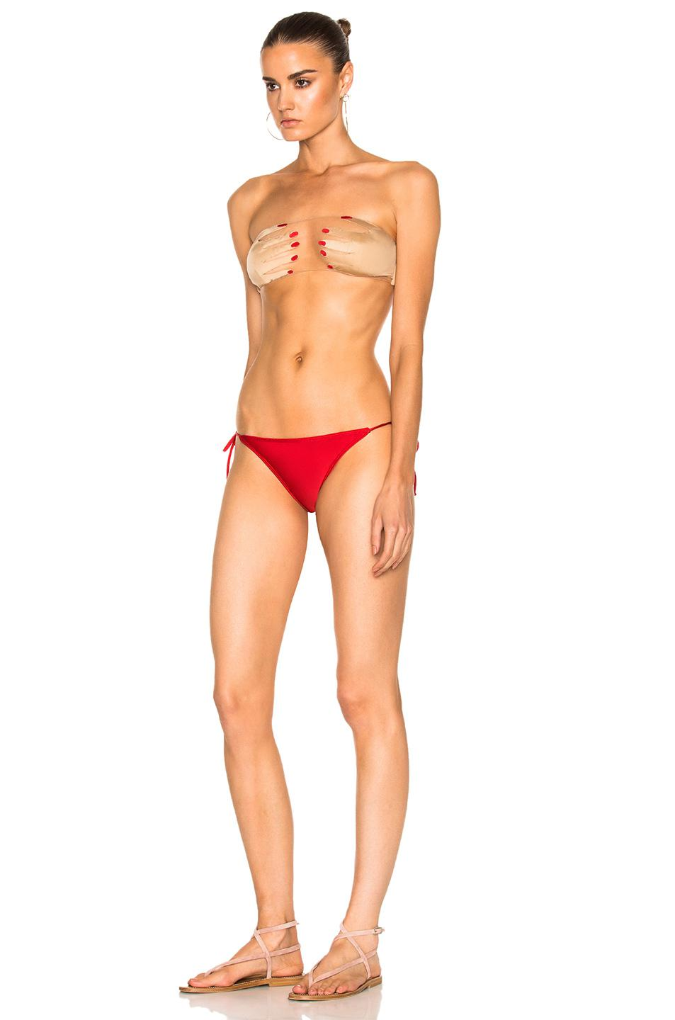 ba506bf9e5f5b Lyst - Adriana Degreas For Fwrd Hand On Bikini Set In Nude   Red in Red