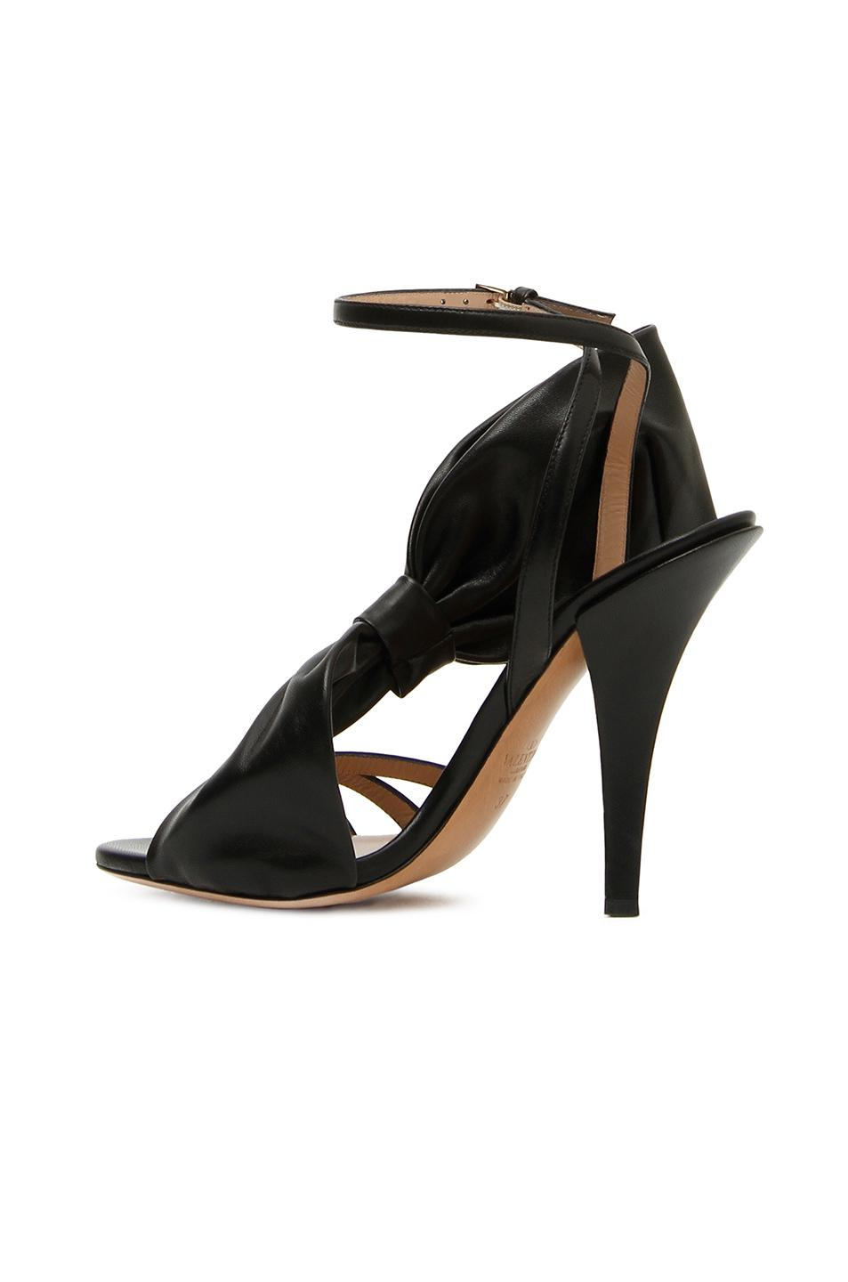 17b6fdb509bd Lyst - Valentino Leather Side Bow Ankle Strap Sandals in Black