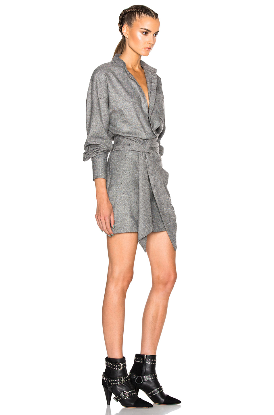 Isabel Marant Khol Draped Stuff Dress In Gray Lyst