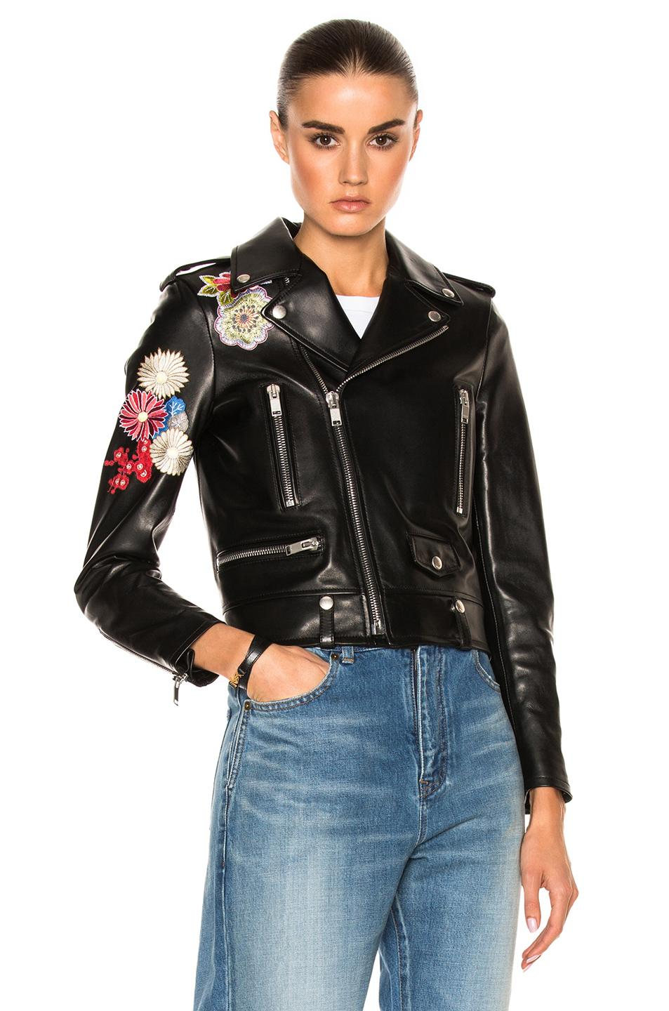 Saint Laurent Embellished Embroidered Leather Motorcycle Jacket In Black | Lyst