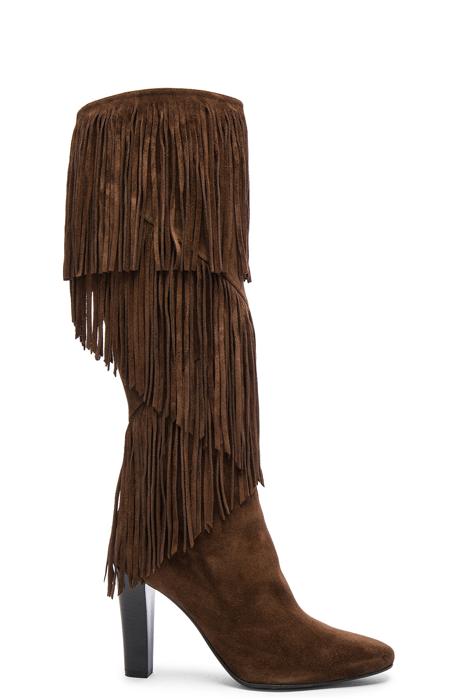 laurent suede fringe boots in brown lyst