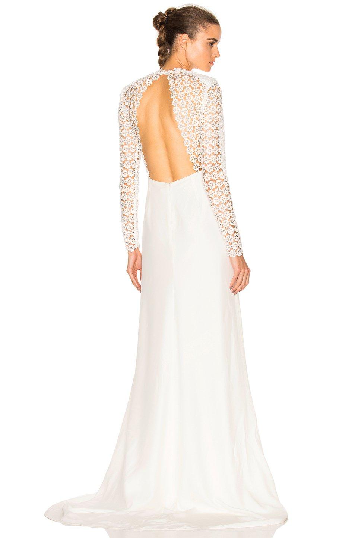 Self portrait eva backless silk wedding dress in white lyst for White silk wedding dress
