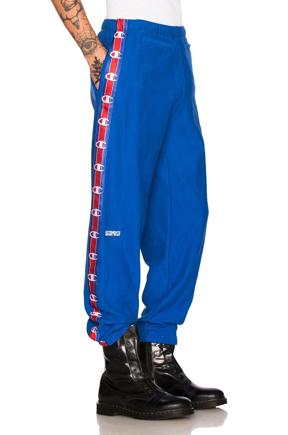 f24fc78f6b5b Lyst - Vetements X Champion Tape Track Pants in Blue