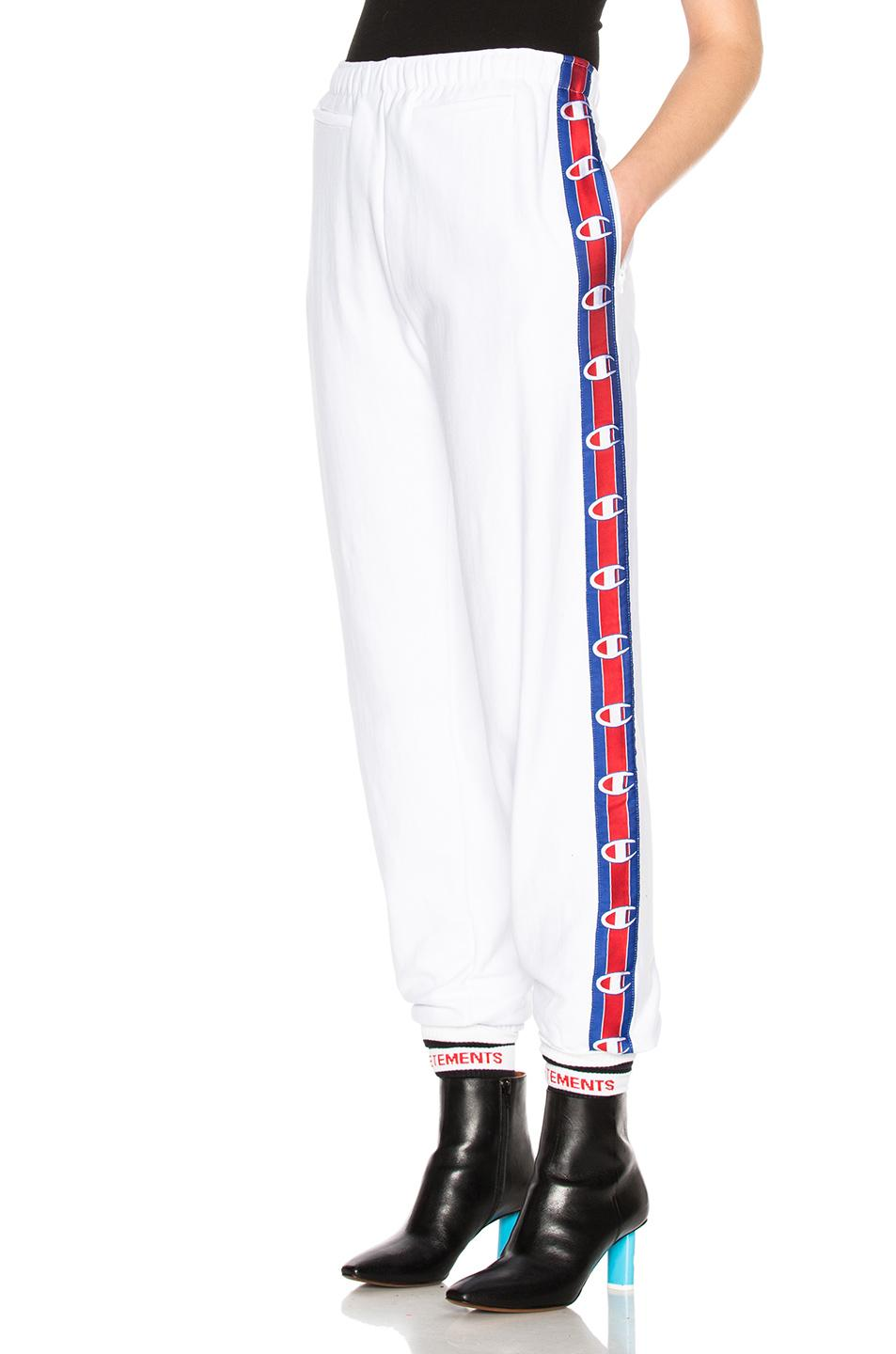 9ee908fd2bb3d7 Vetements X Champion Tape Track Pants in White - Lyst