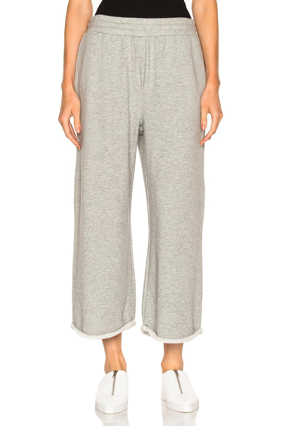 T By Alexander Wang French Terry Cropped Wide Leg Sweatpants in Gray ... 7ec5f23b1c1f0