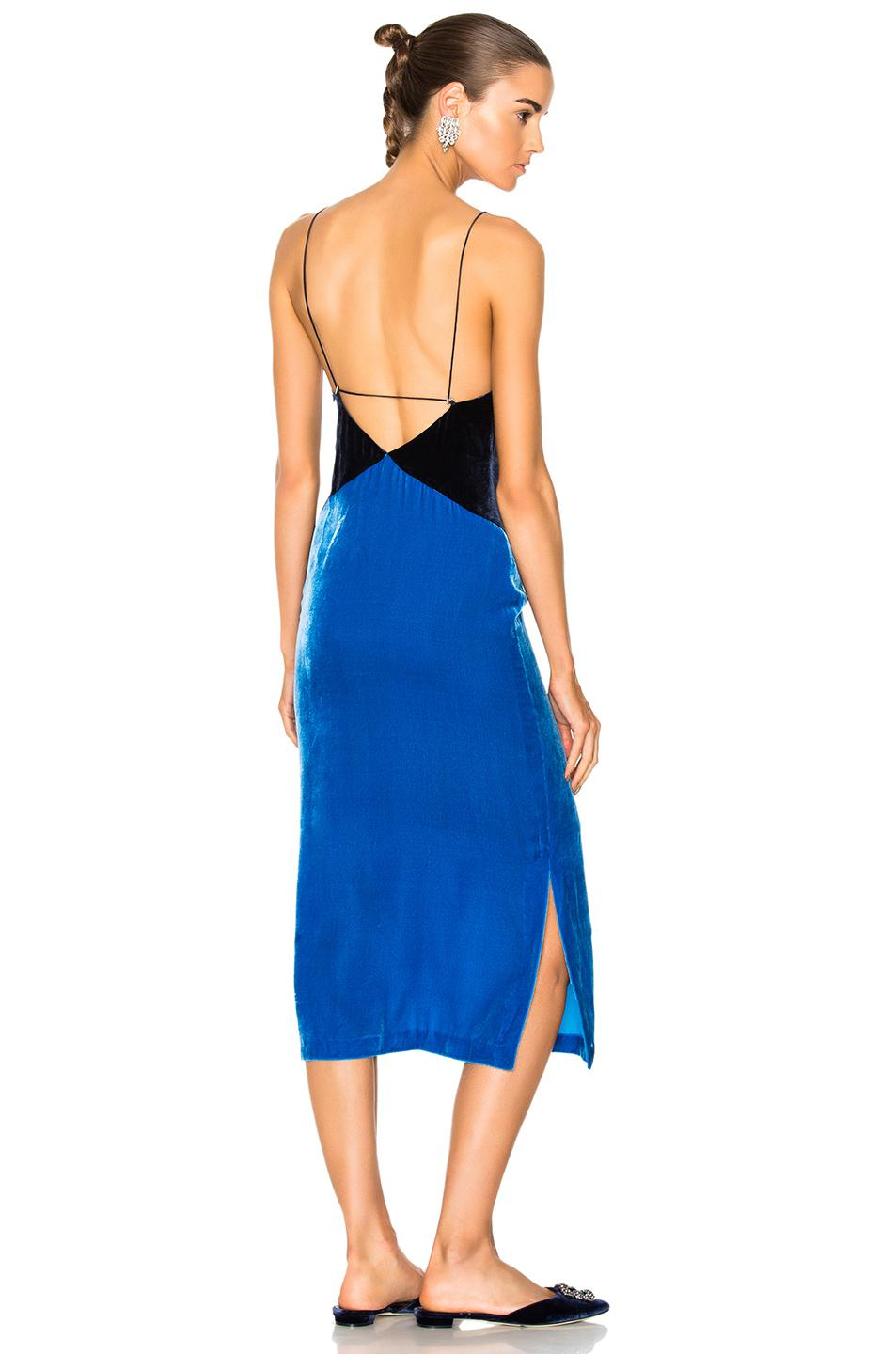 Velvet Slip Dress - Bright blue Dion Lee Pictures Cheap Price Cheap Cheap Online Cheap Sale Pick A Best Buy Cheap Low Shipping Free Shipping Manchester MaFuD