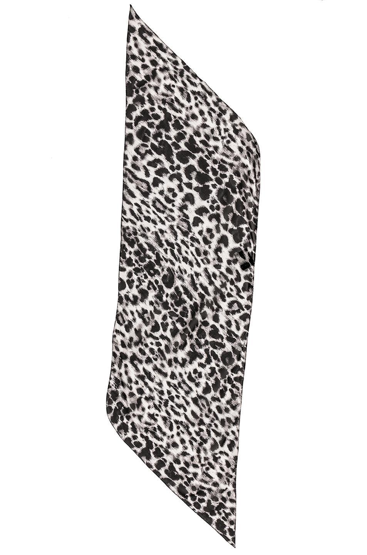 Silk Animalier Scarf in Animal Print,Gray Saint Laurent