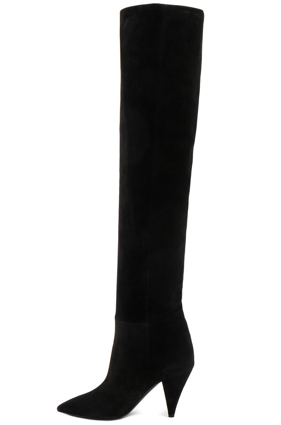 Saint LaurentSuede Era Heeled Thigh High Boots in . ORdRng