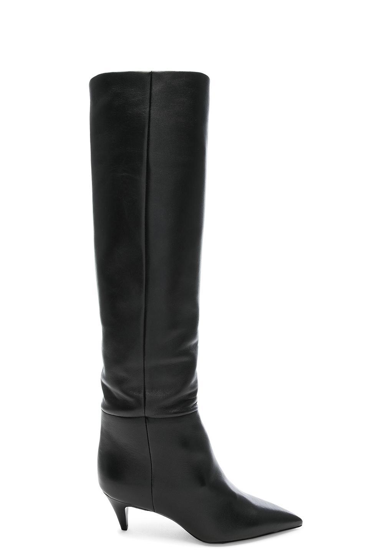 6ecc4be6bba Saint Laurent. Women s Black Leather Charlotte Kitten Heel Knee High Boots