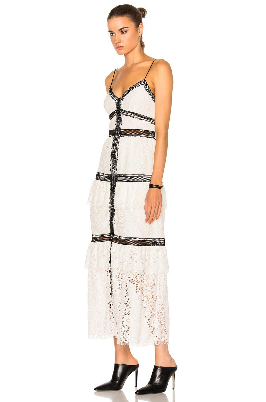 6b7ab8cb2602 Self-Portrait Lace Trim Maxi Dress in White - Lyst