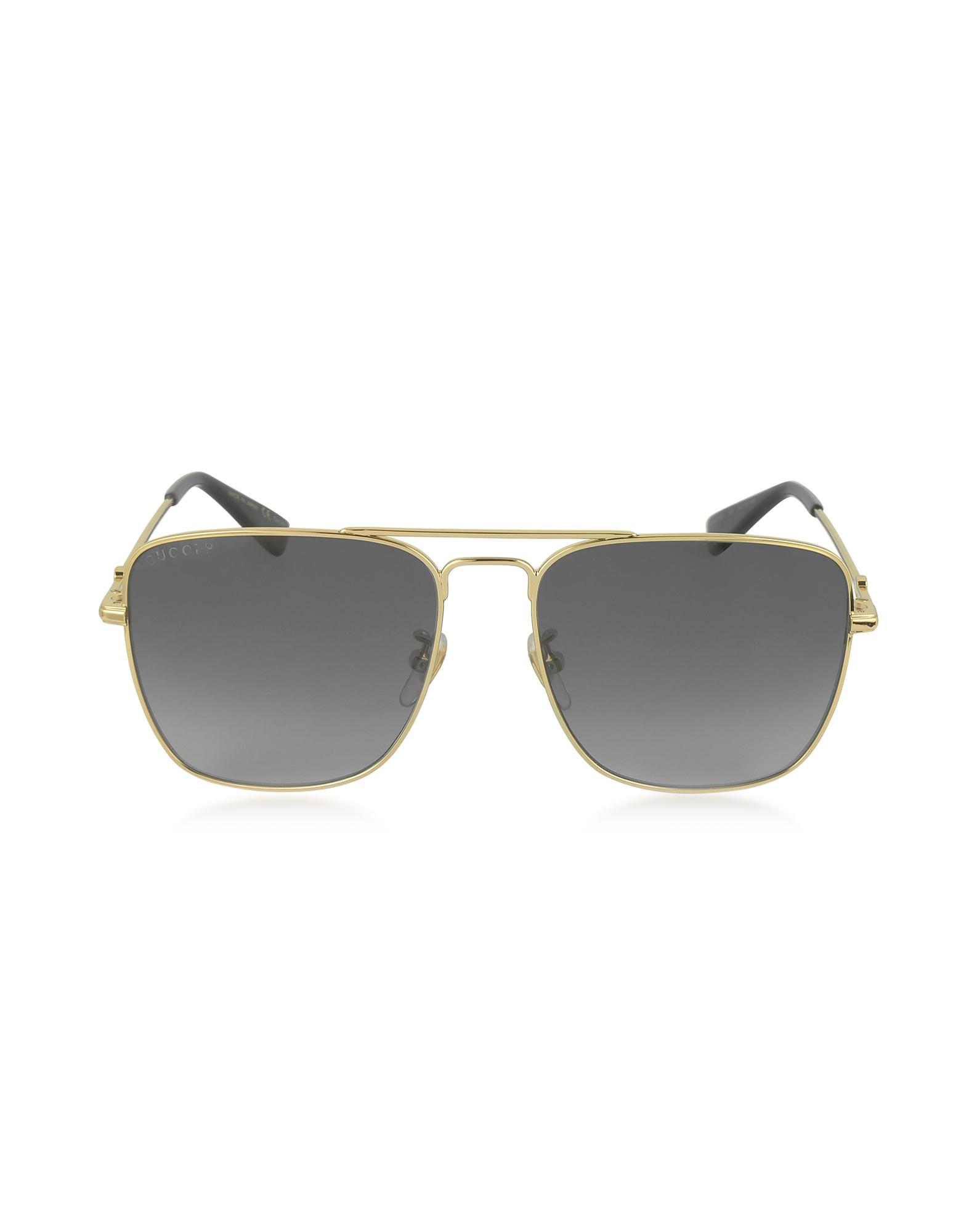 7671b60eff7 Gucci. Metallic GG0108S 006 Gold Metal Square Aviator Men s Polarized  Sunglasses