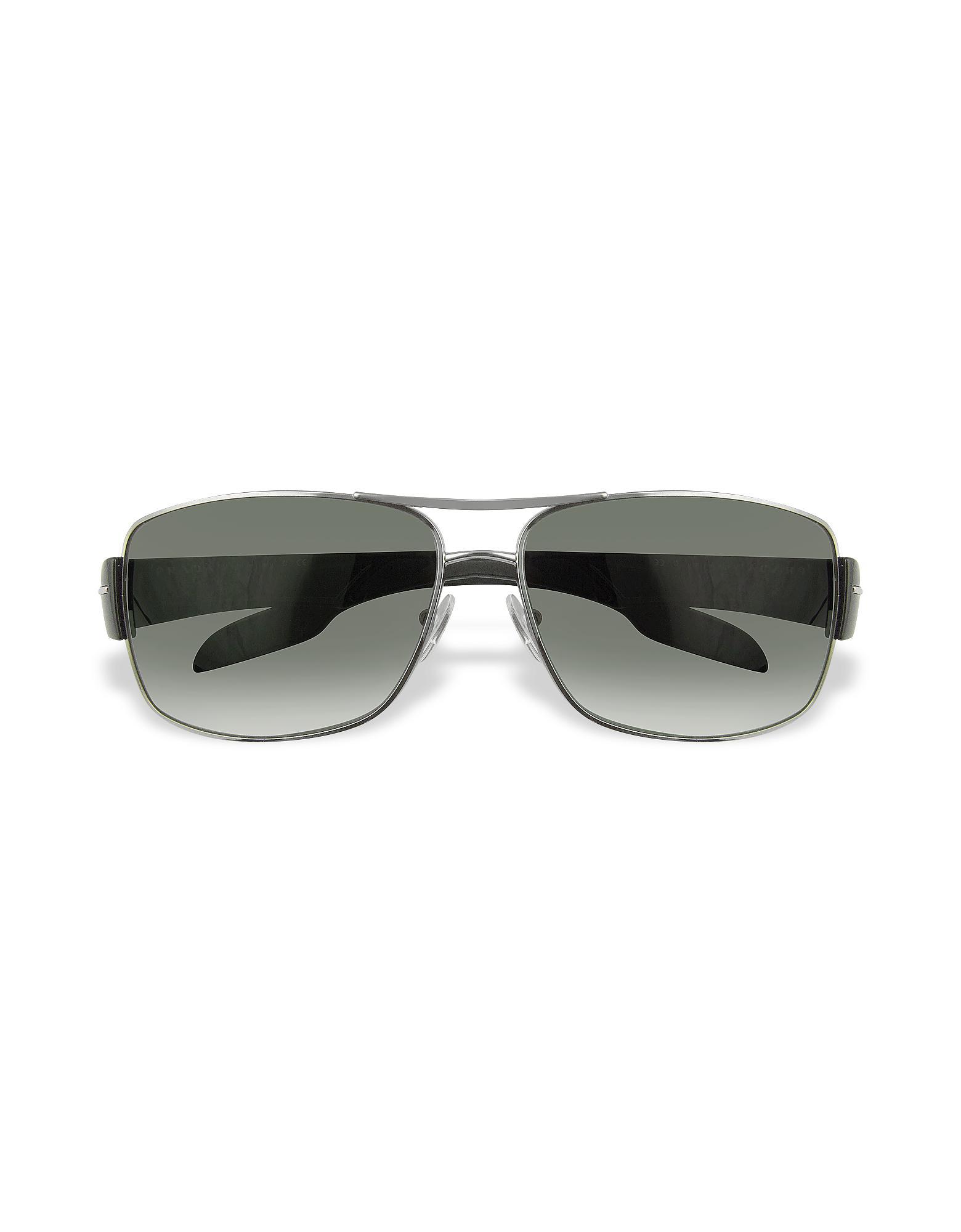 04daf7b397e ... promo code prada rectangle metal frame sunglasses in gray for men lyst  c4b1d 5f4bc