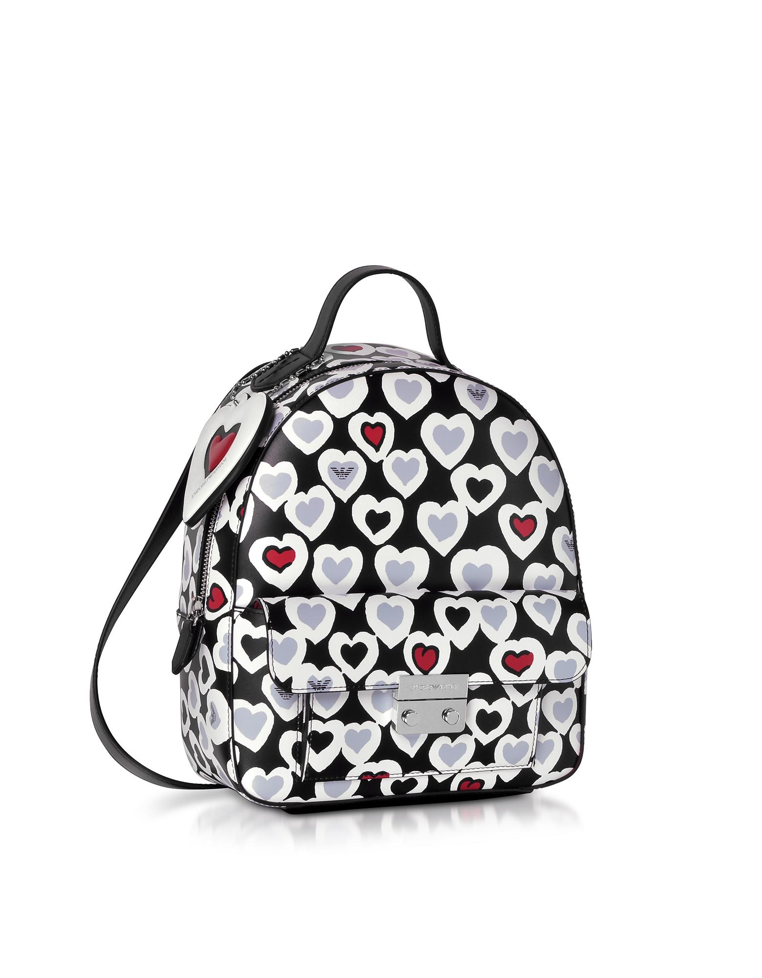 6a00b5093b95 Emporio Armani Heart Print Medium Backpack in Black - Lyst