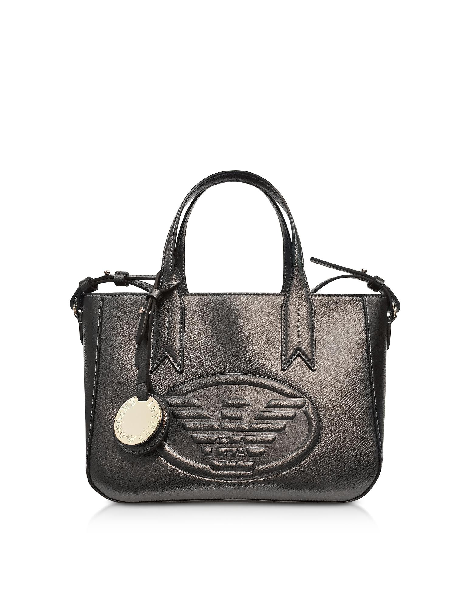 e71f291f6418 Emporio Armani Dark Gray steel Embossed Eagle Small Tote Bag in Gray ...