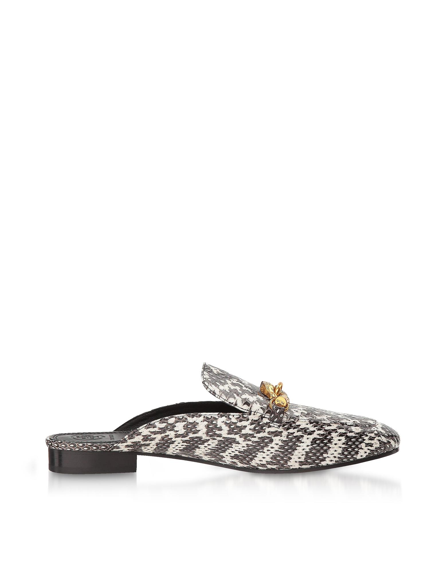 049561d1e Tory Burch. Women s Gray Black And White Roccia Embossed Leather Jessa  Backless Loafer