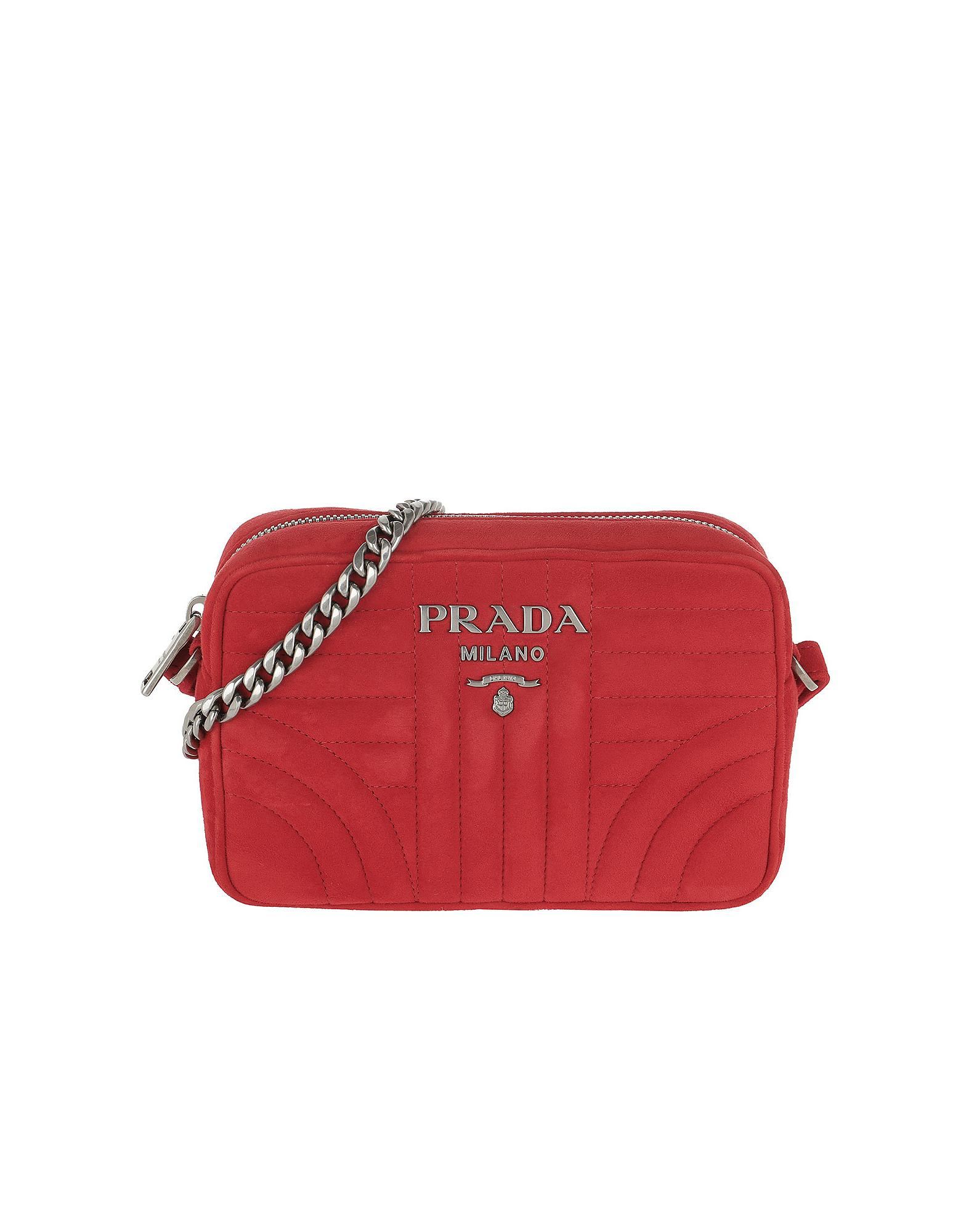 e2bd1fc43 Prada Diagramme Crossbody Bag Suede Rosso in Red - Lyst