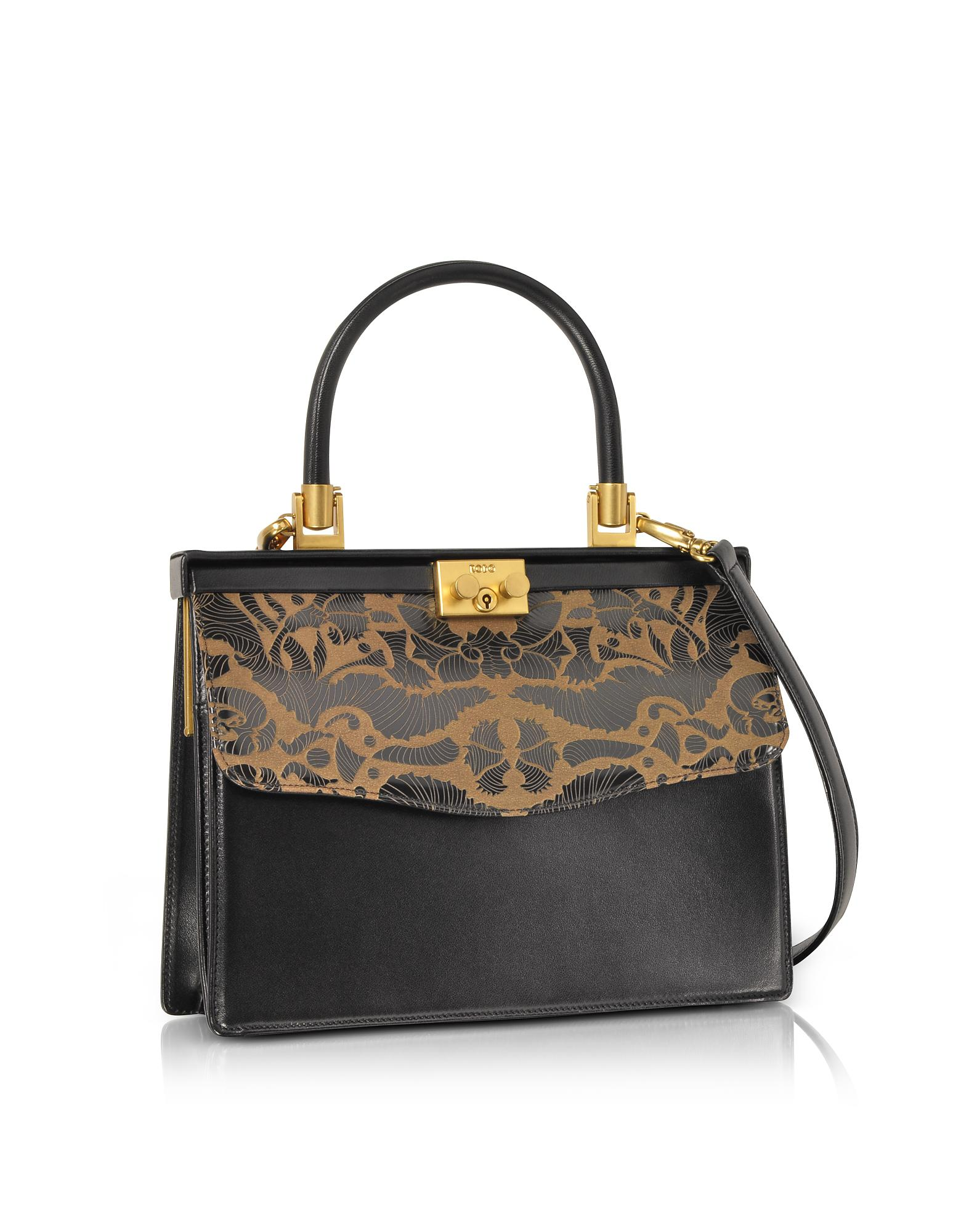 e8a4665c526c Rodo Laser Printed Leather Top Handle Satchel Bag in Black - Lyst