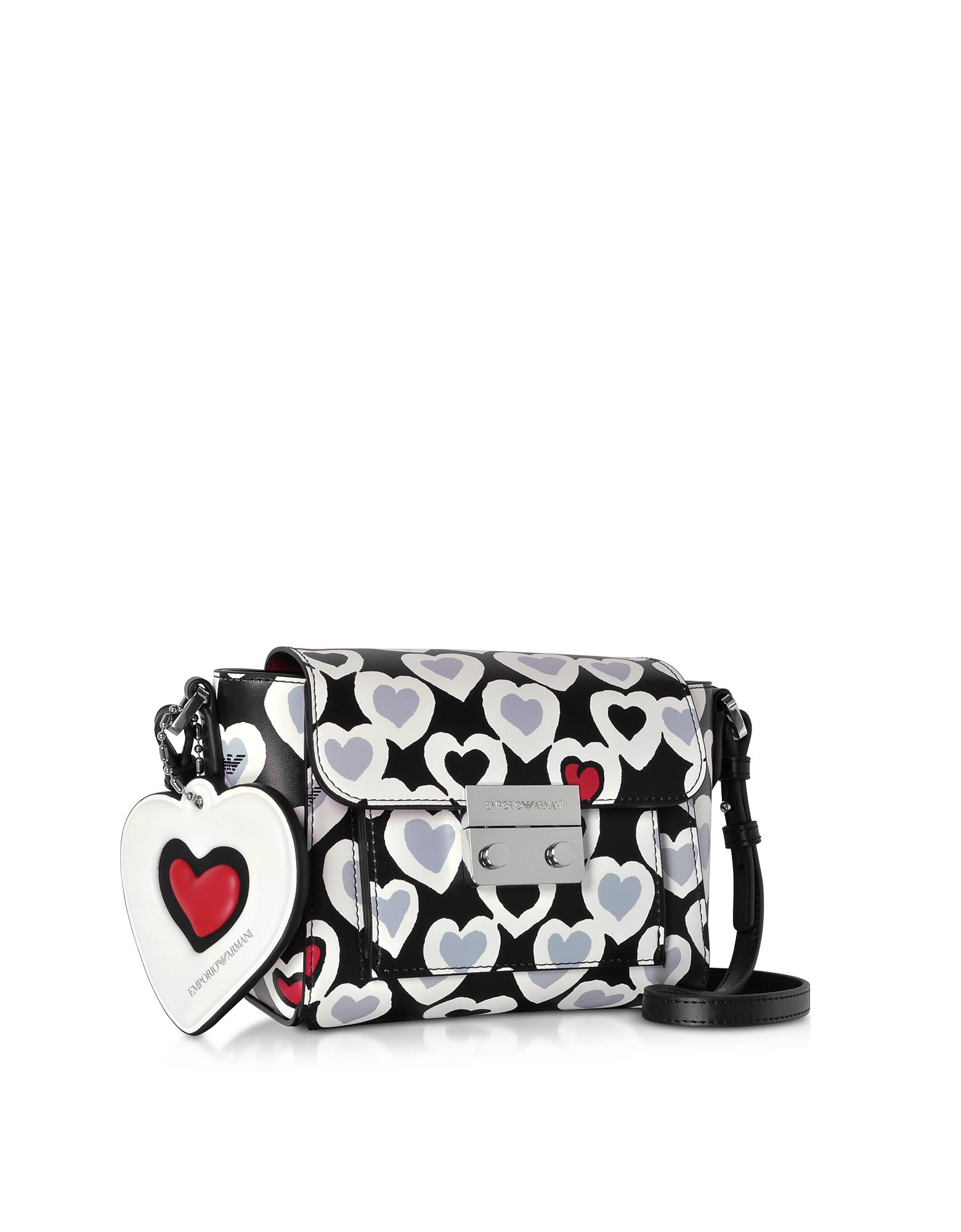 e2f545c73fbe Emporio Armani Small Heart Print Shoulder Bag in Black - Lyst