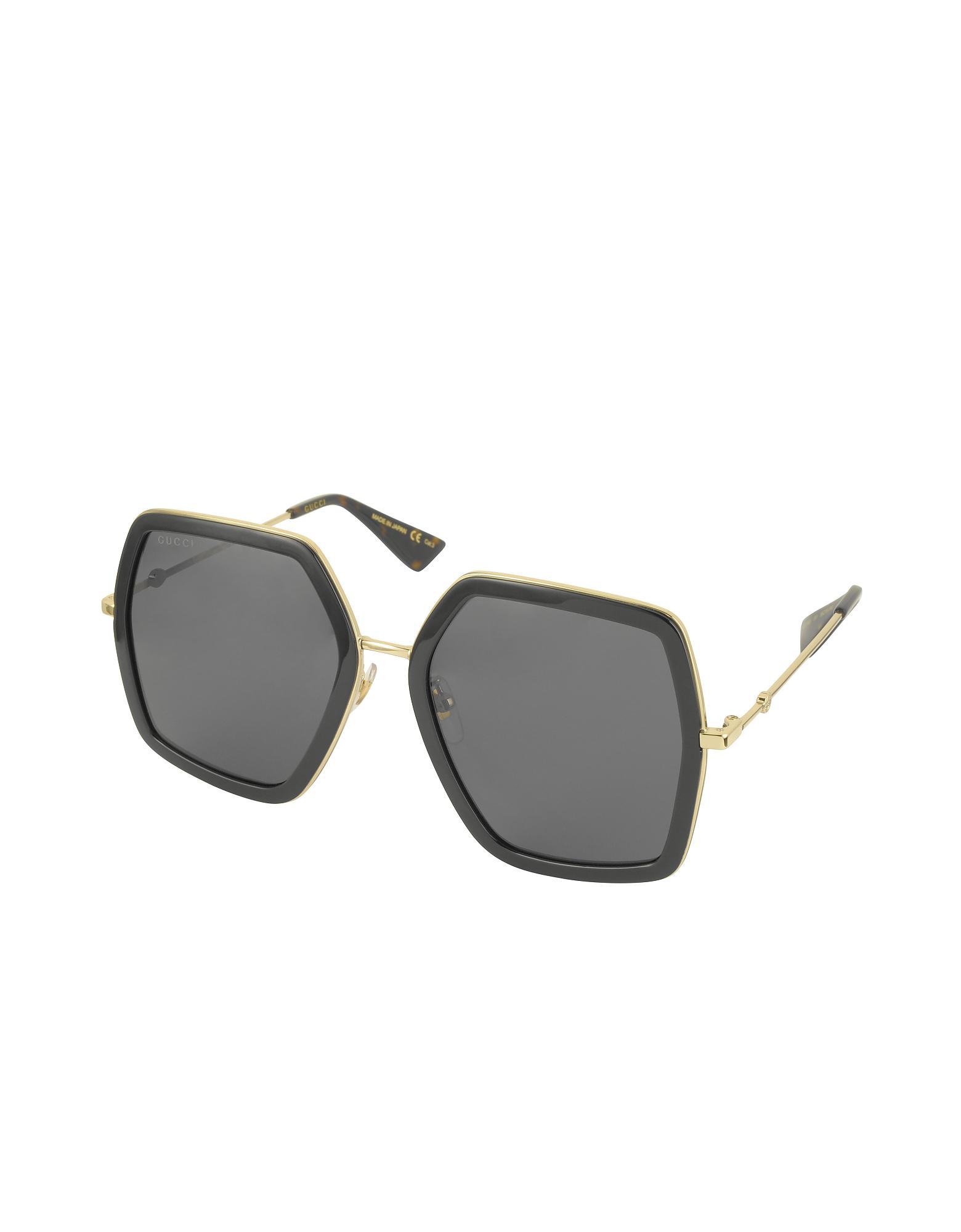 b6e4374e463 Gucci GG0106S 001 Black Acetate And Gold Metal Square Oversized Women s  Sunglasses in Black - Lyst