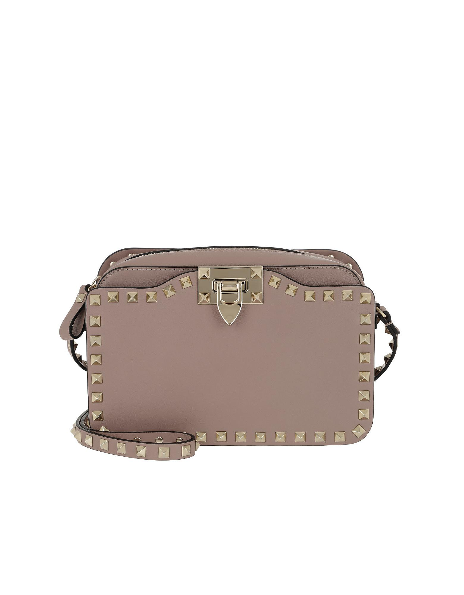 7b9cc2678ce1 Lyst - Valentino Rockstud Crossbody Camera Bag Leather Poudre in Pink