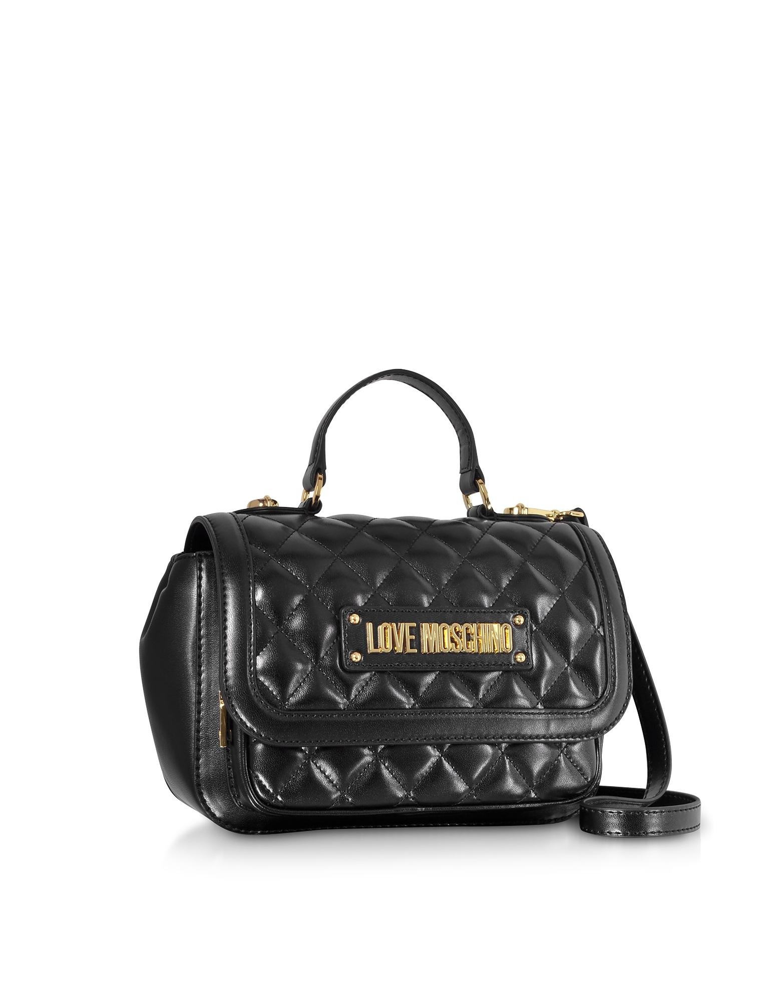 Love Moschino New Quilted Eco Leather Top Handle in Black - Lyst 33868eafd3