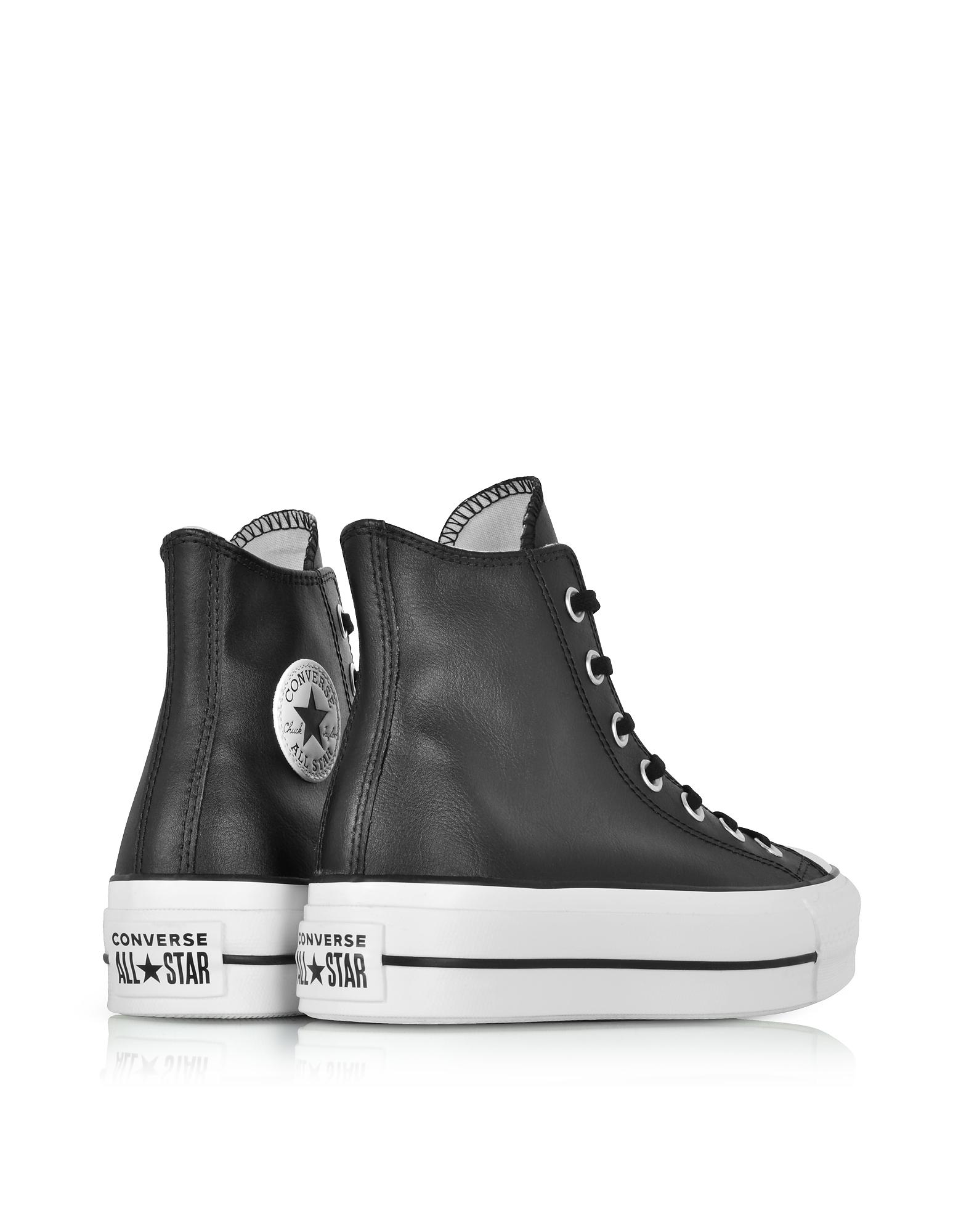 Lyst - Converse Chuck Taylor All Star Lift Clean Black Leather High ... b164c7886