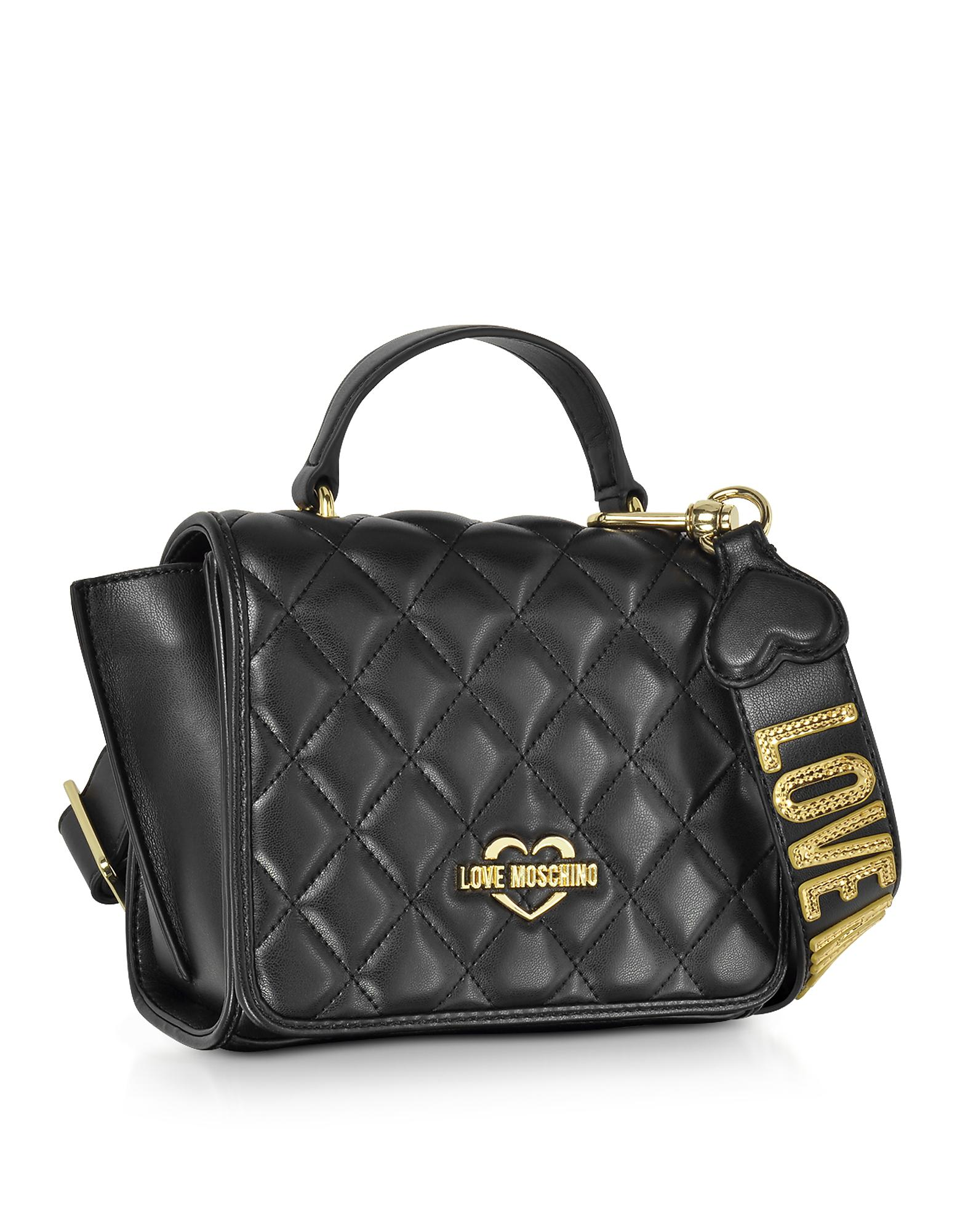 86070a965600 Lyst - Love Moschino Black Superquilted Eco-leather Small Shoulder ...