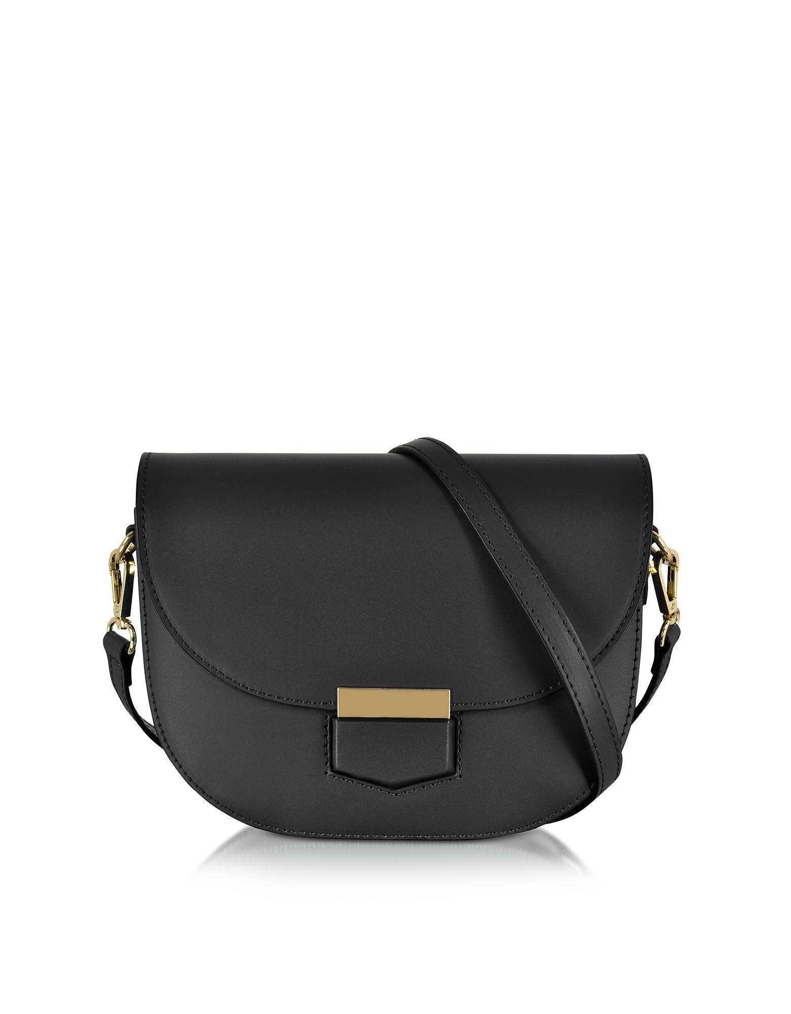 Le Parmentier Clio Smooth Leather Flap Shoulder Bag in Black - Lyst 841fe217347af