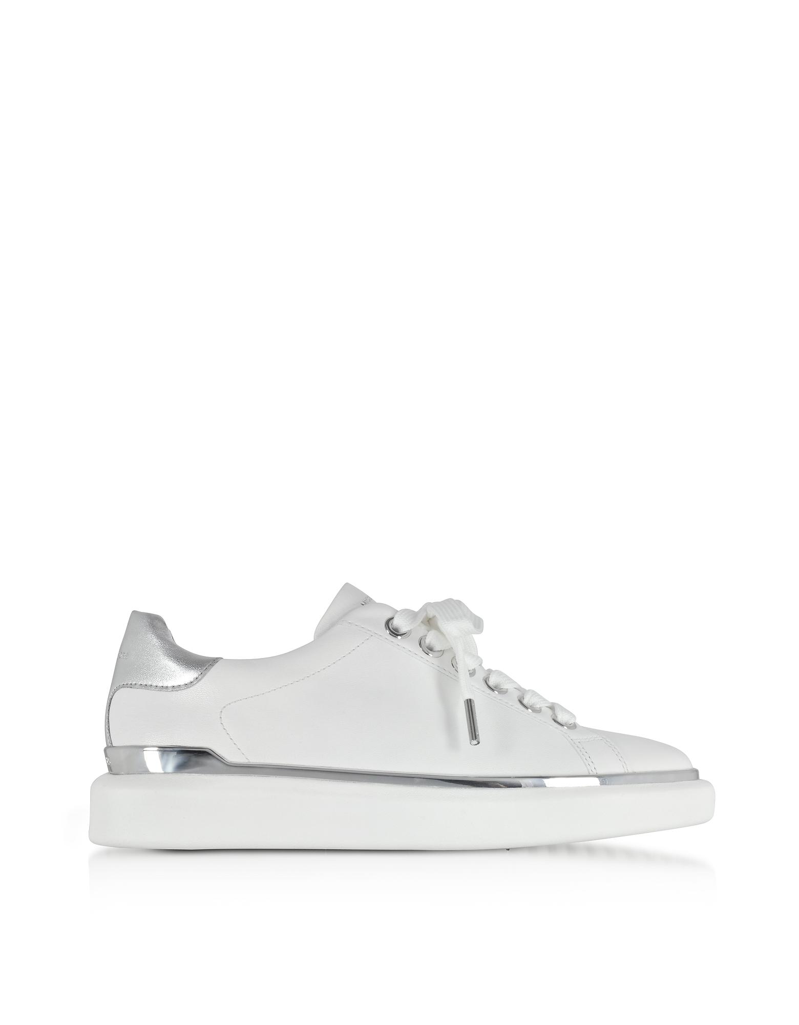 e6a2228527c Michael Kors Max Optic White Nappa Leather Lace Up Sneakers in White ...