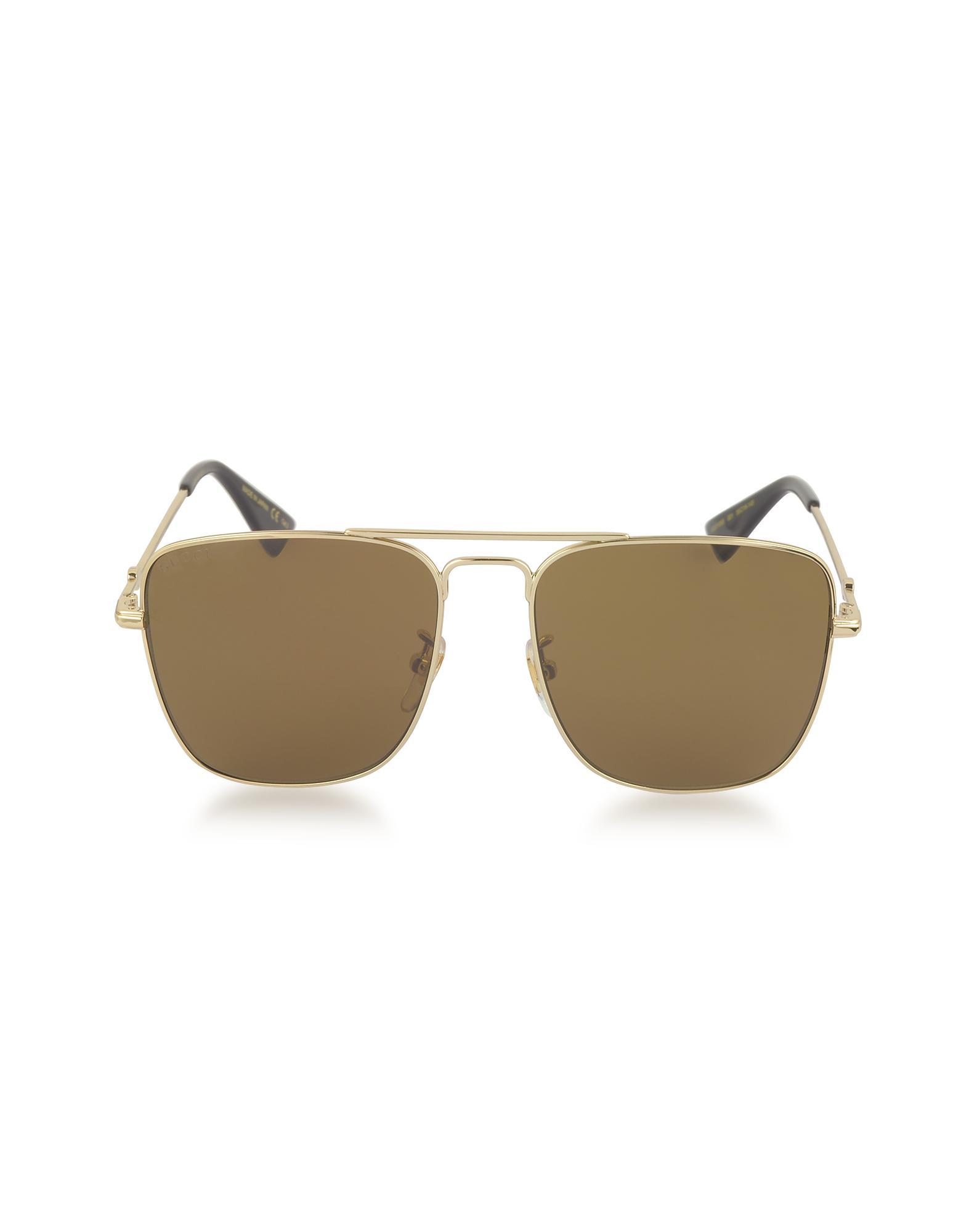 Lyst - Gucci GG0108S Gold Metal Square Aviator Men s Sunglasses in ... 1185fbacab