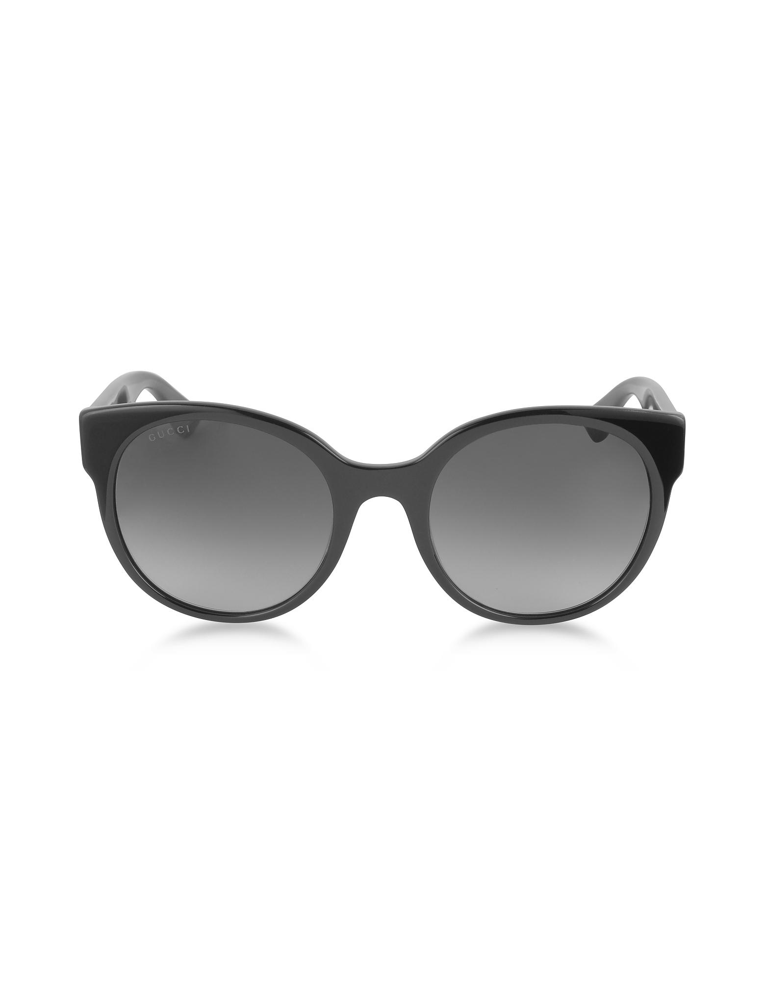 49eb18e2d9b Gucci - GG0035S 001 Black Optyl Round Women s Sunglasses - Lyst. View  fullscreen