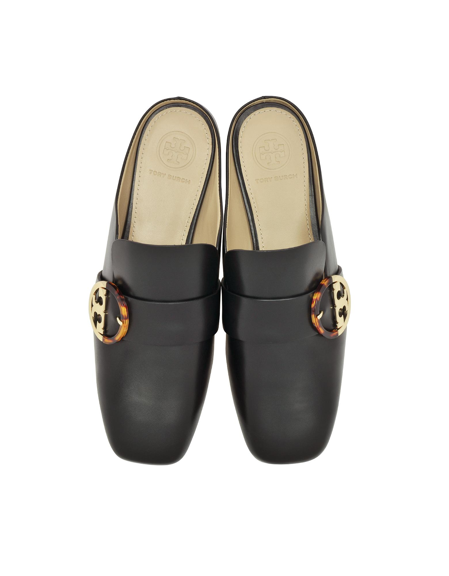 82e5fa59cdc7 Lyst - Tory Burch Sidney Black Leather Backless Loafers in Black