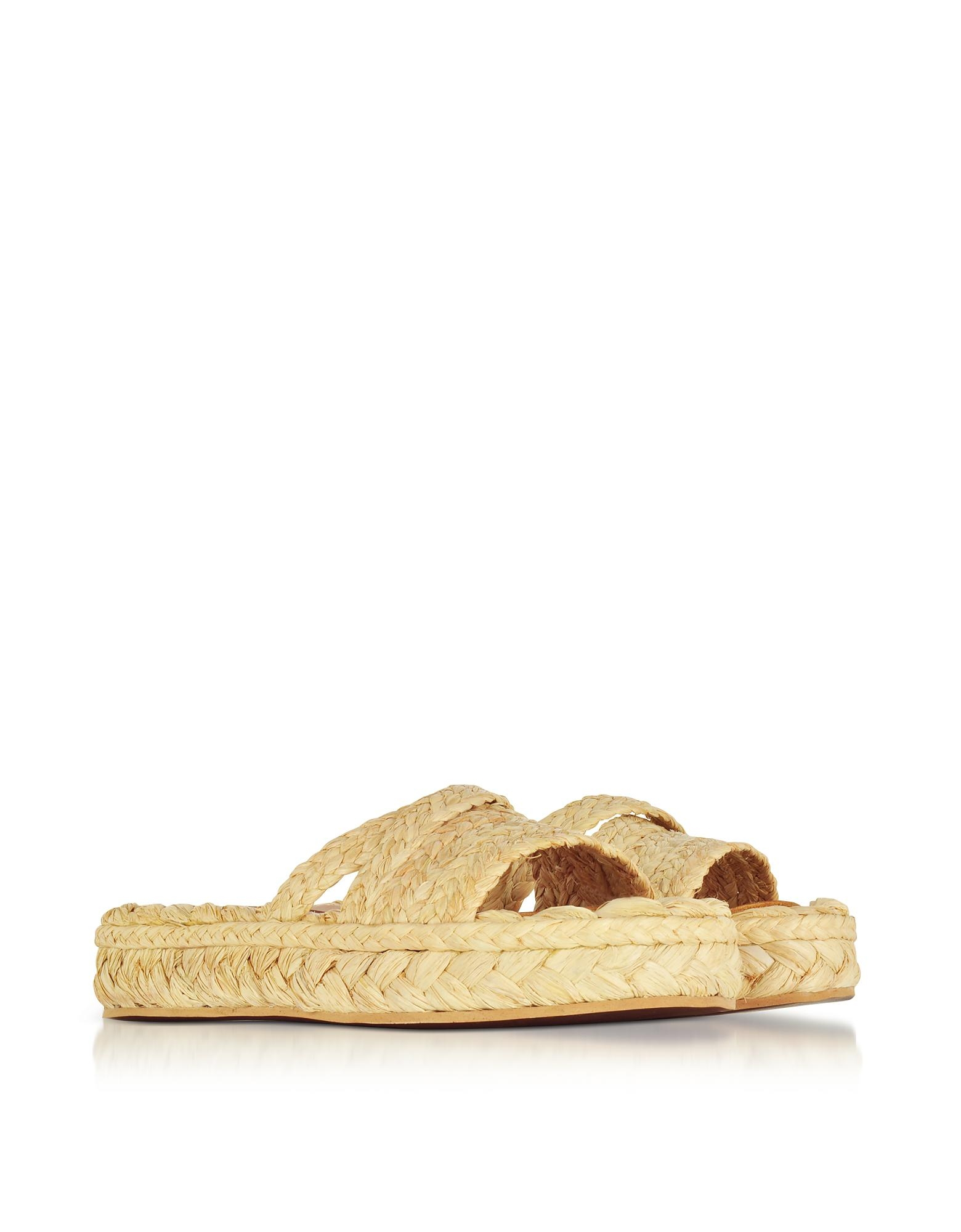 e418f7ebbbc Lyst - Robert Clergerie Idalie Natural Braided Raffia Flat Sandals ...
