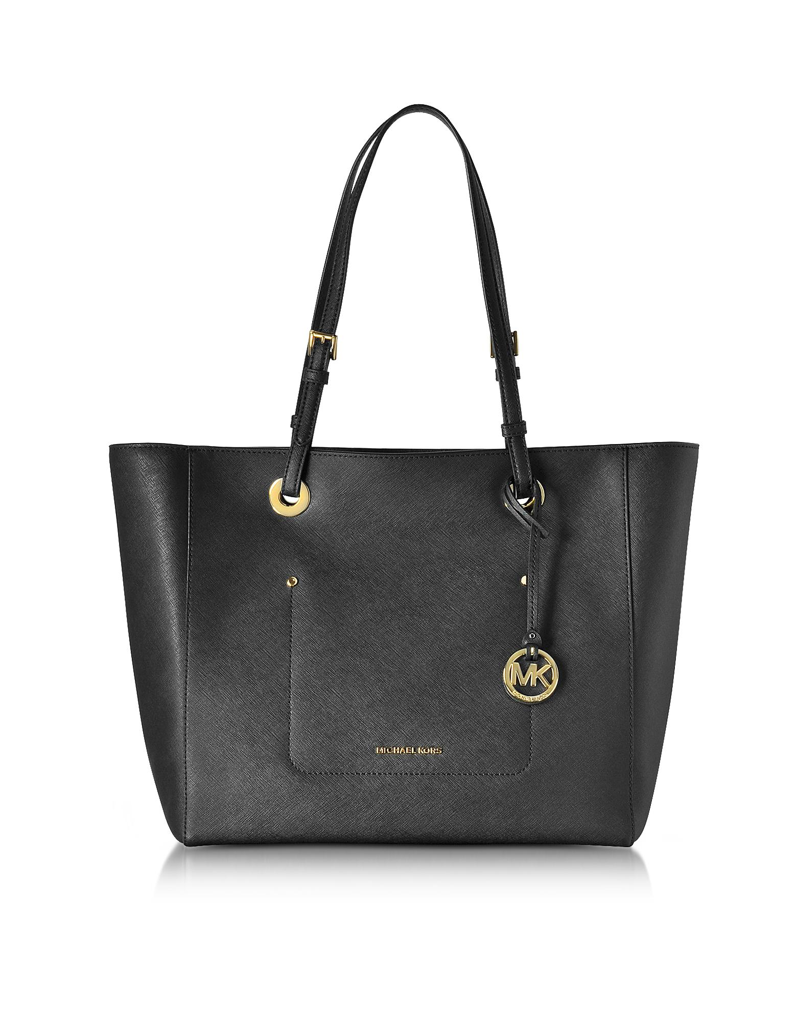 8969d4cb1b08 Michael Kors Walsh Large Black Saffiano Leather Ew Top-zip Tote in ...