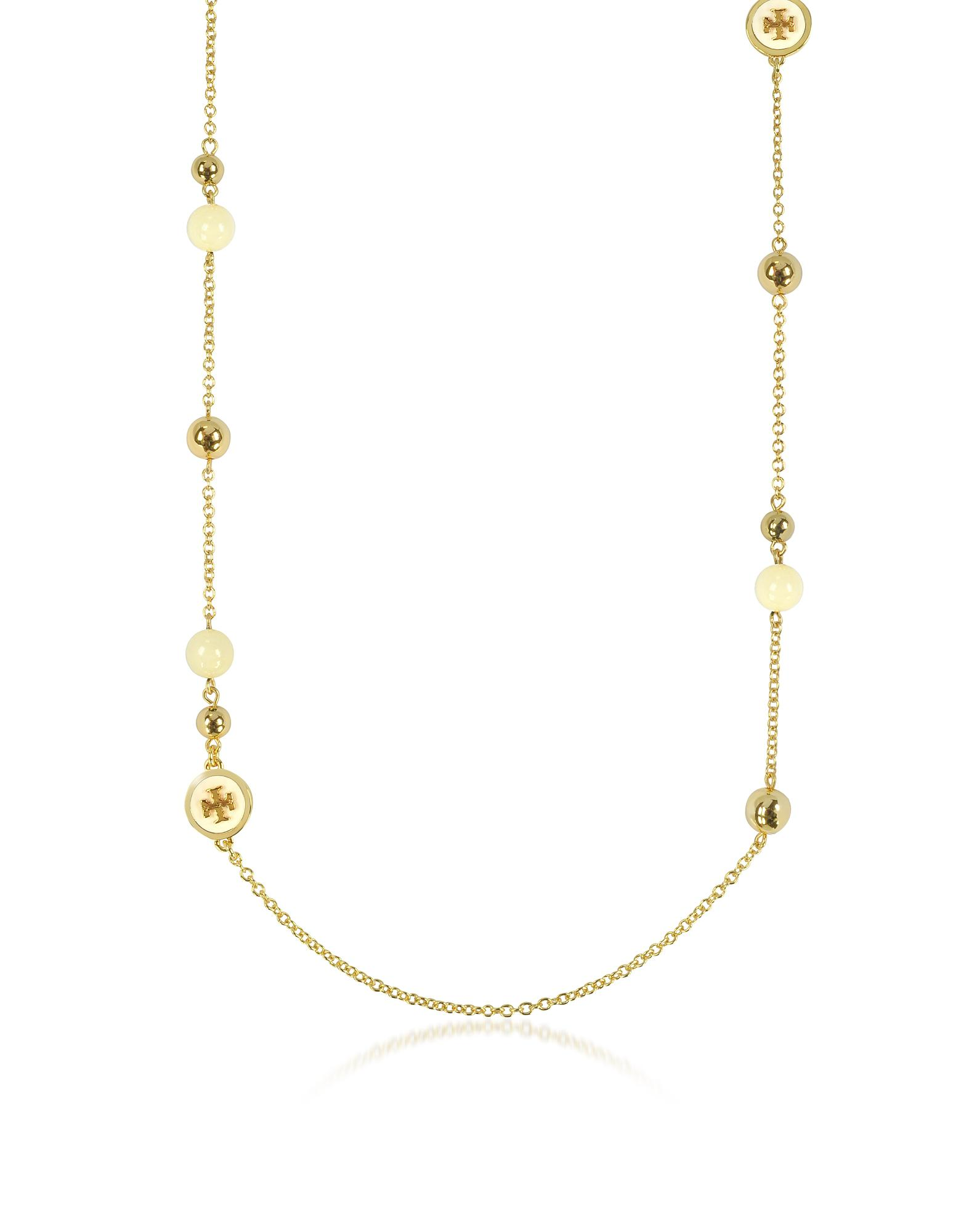 Tory Burch Raised Logo Rosary Necklace in Ivory Tory Gold Brass and Enamel D3YqDXi