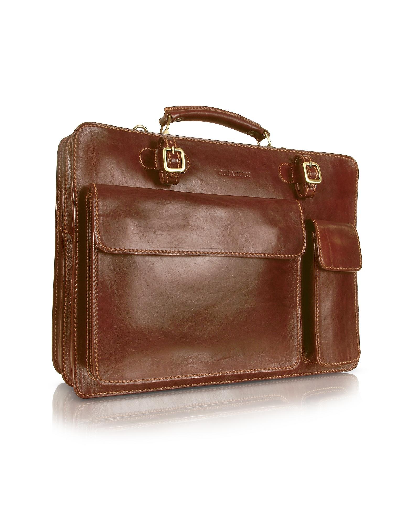 1b021930aa8bc Lyst - Chiarugi Handmade Brown Genuine Leather Double Gusset ...